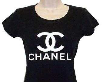 7eb05b0aca76 CC t Designer mode Chanel cintrée chemise vinyl logo haute qualité grand  avec tee top t shirt