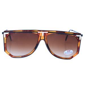 70/'s Square Brown Aviator Sunglasses Oversize Plastic Frame Real Deal Vintage Clear Glasses