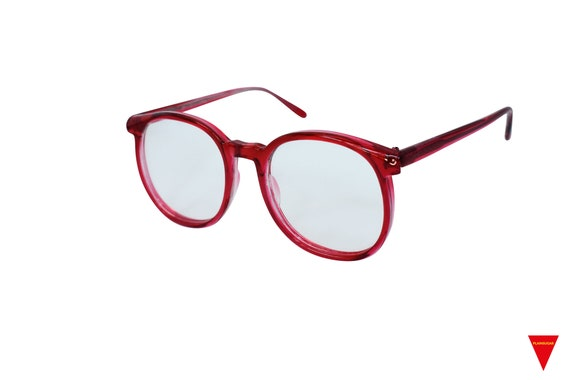 70's Red Sunglasses Vintage Round Frame with Clea… - image 3