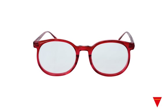 70's Red Sunglasses Vintage Round Frame with Clea… - image 1