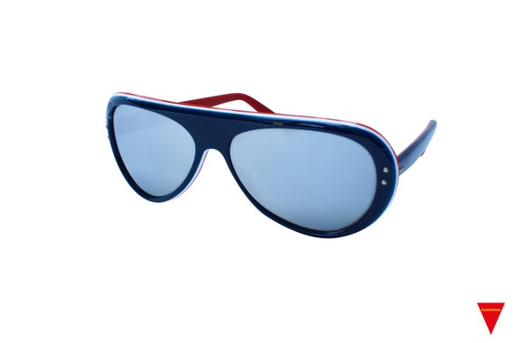Original Vintage Sunglasses 70's Blue, Red, and W… - image 3
