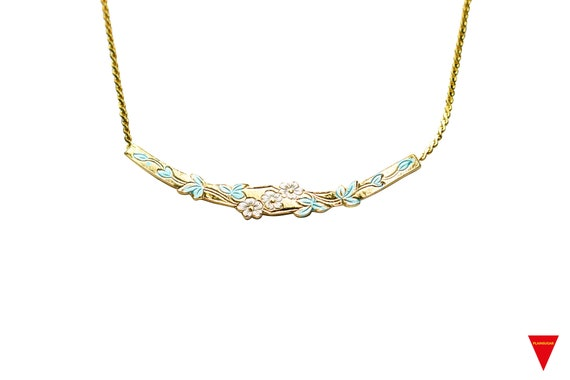 Cute Unworn Original Vintage Simple Girl/'s Jewelry 90/'s with Dainty Gold Necklace Choker 80/'s Fashion Hip HOT Gold Flower Pendant