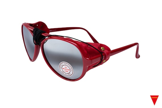 70's Red Aviator Sunglasses Nylon Frame with Side… - image 2