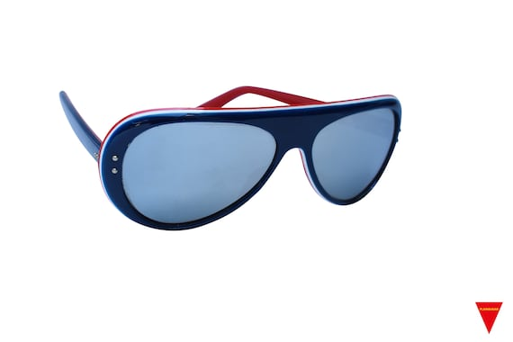 Original Vintage Sunglasses 70's Blue, Red, and W… - image 2