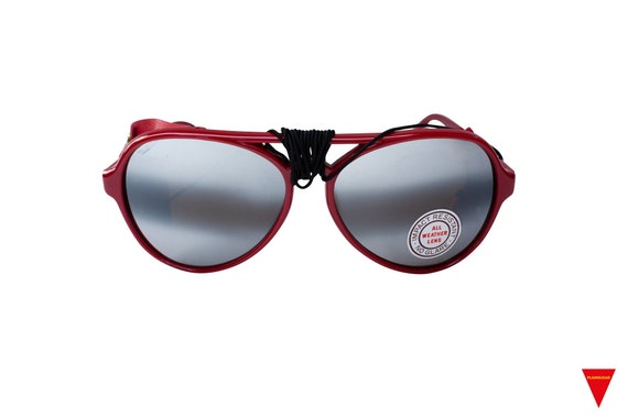 70's Red Aviator Sunglasses Nylon Frame with Side… - image 3
