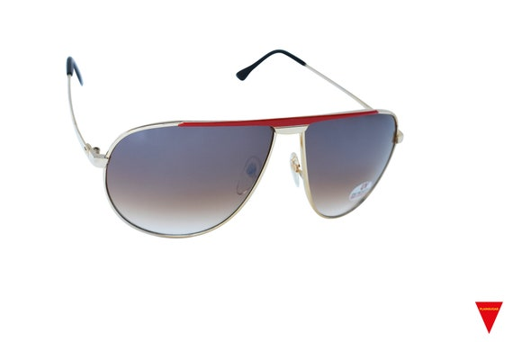 70's Aviator Sunglasses, Red and Gold Metal Glass… - image 2