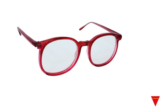 70's Red Sunglasses Vintage Round Frame with Clea… - image 2