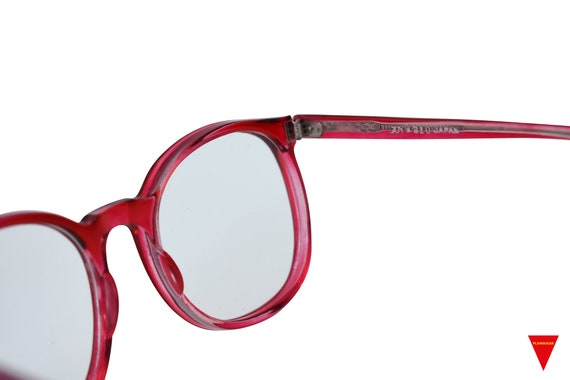 70's Red Sunglasses Vintage Round Frame with Clea… - image 9