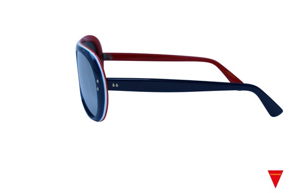 Original Vintage Sunglasses 70's Blue, Red, and W… - image 4