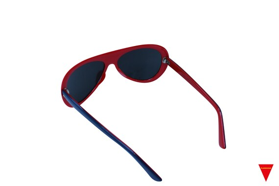 Original Vintage Sunglasses 70's Blue, Red, and W… - image 5