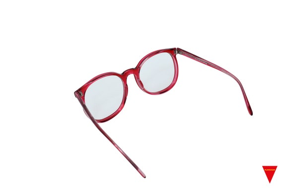 70's Red Sunglasses Vintage Round Frame with Clea… - image 8
