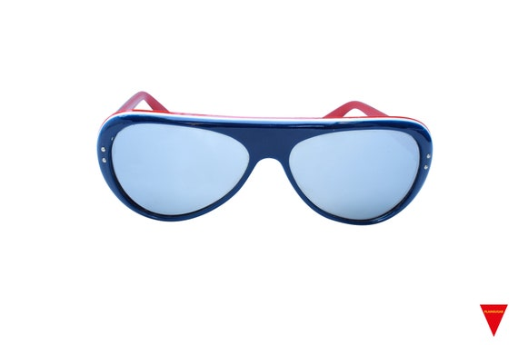 Original Vintage Sunglasses 70's Blue, Red, and W… - image 1