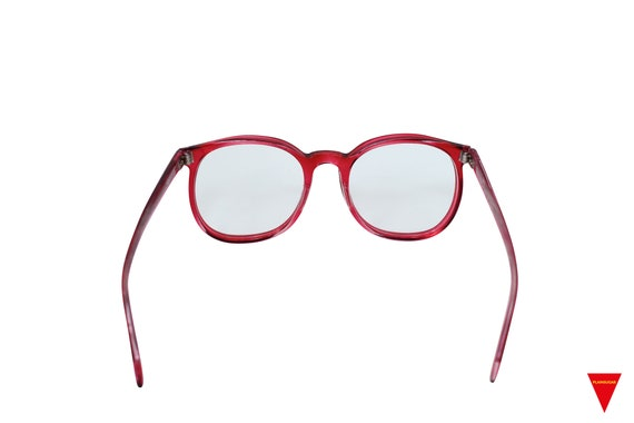70's Red Sunglasses Vintage Round Frame with Clea… - image 7