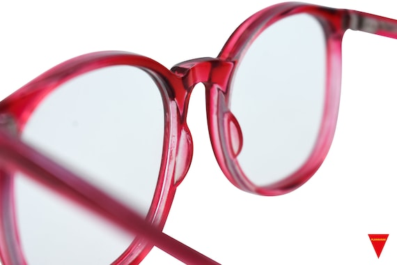 70's Red Sunglasses Vintage Round Frame with Clea… - image 6