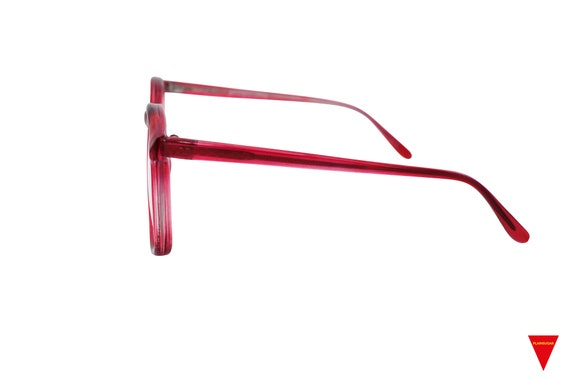 70's Red Sunglasses Vintage Round Frame with Clea… - image 4