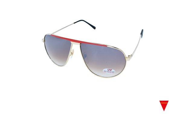 70's Aviator Sunglasses, Red and Gold Metal Glass… - image 3