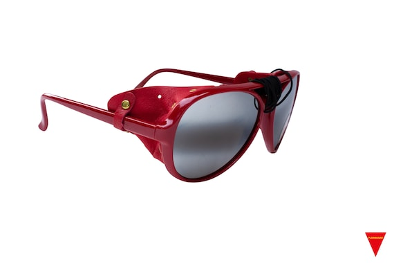 70's Red Aviator Sunglasses Nylon Frame with Side… - image 4
