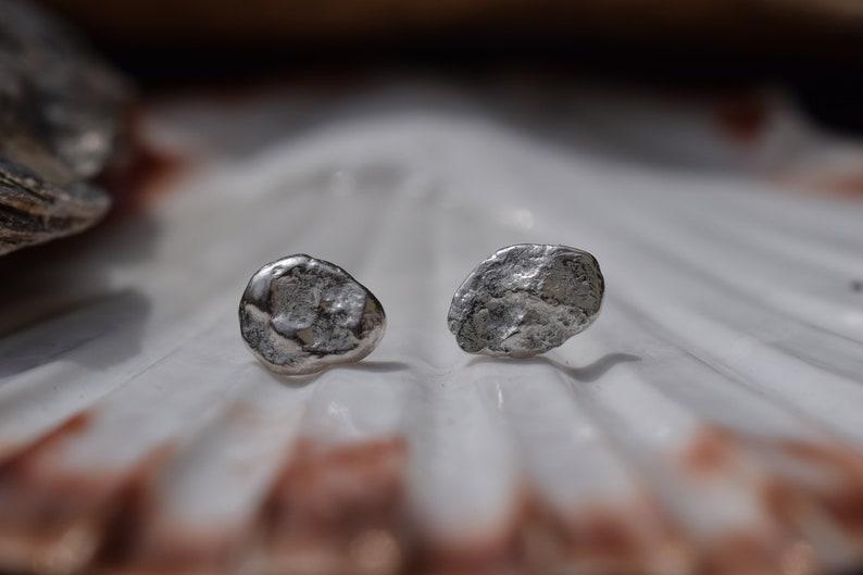 Silver Unusual Stone Texture Earrings Long Unique