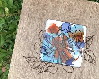 Alcohol Ink/Pyro Framed Flower