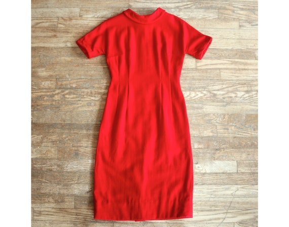 Vintage red dress, 50s or 60s short sleeve XXS she