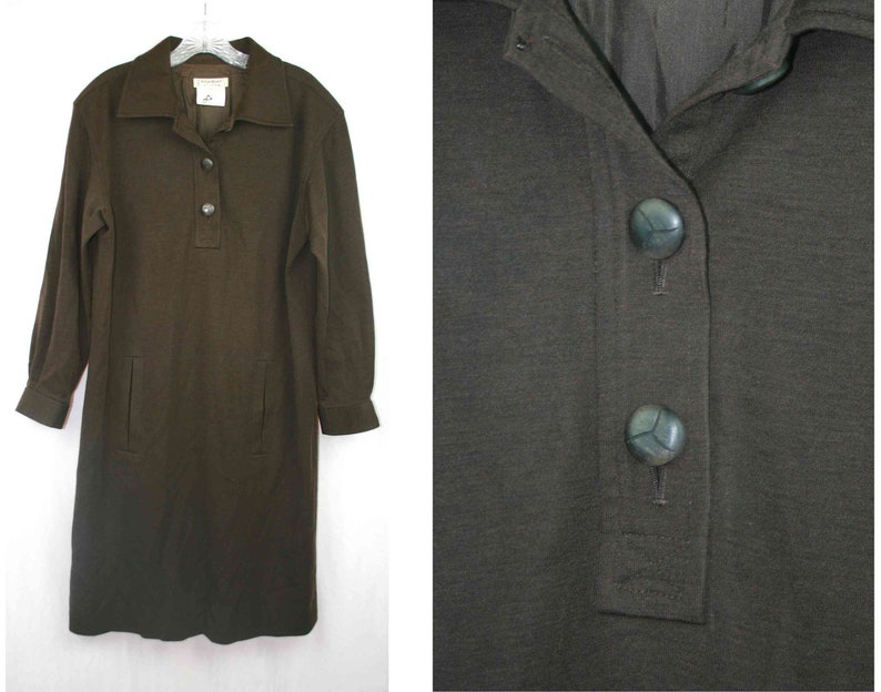 dbd7bffe5c8 Dress Yves Saint Laurent Rive Gauche YSL brown wool vintage | Etsy
