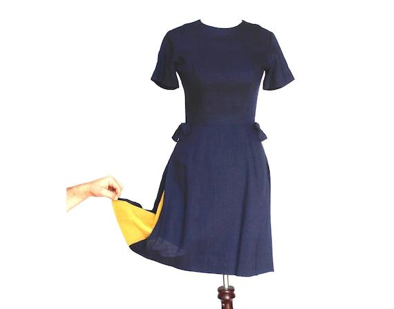 Vintage Navy Blue Sheath Dress Size Small to Medium
