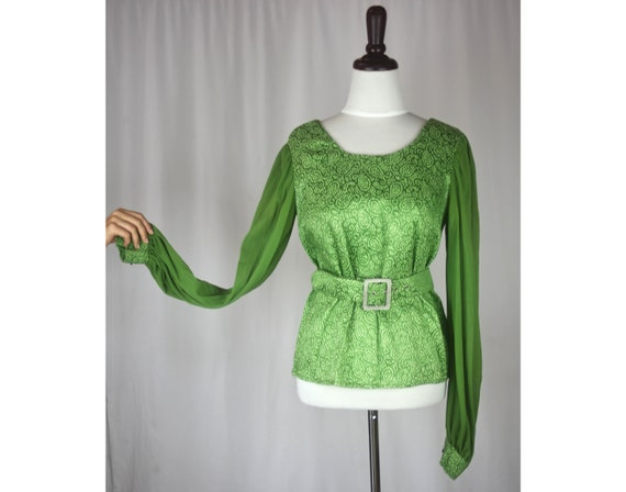 Vintage sparkly top, dressy 70s medium lime green