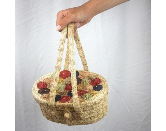 Vintage purse, 60s raffia handbag made in Japan, r