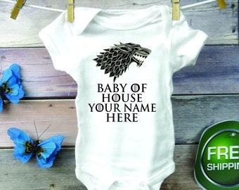 0979da03 Inspired by The Game of Thrones TV Show, Baby Onesie ®, Direwolf, Winter is  Coming, Gift, GOT, Diaper, Gender Reveal Party, Stark House