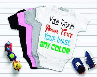 13ce29f76 Custom Onesie® | Personalized Custom Baby Bodysuit Shower Gift Color  Options Create your own Onesie Quotes Designs Full Color Printed Shirt
