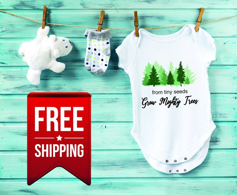 From Tiny Seeds Grow Mighty Trees Premature Gift Boho Hipster Baby Shower Gift Growing Baby Bodysuit One Piece Snap Suit Coming Home