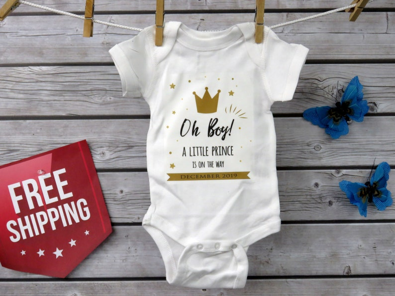 48c43273f9de Oh Boy Announcement Baby Bodysuit A Little Prince Is On The | Etsy