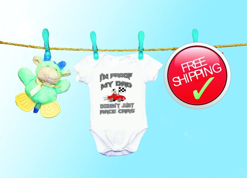 Choose Your Car Color Infant One Piece Snapsuit Dad Gift Baby Announcement Pregnancy Reveal Race Car Driver Dad Proof Baby Onesie