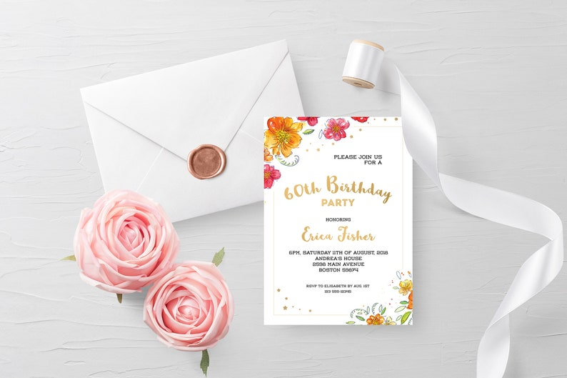 Happy 60th Birthday Personalized Invitation Gold