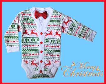 ea9335d869d5 Items similar to Christmas Holiday Toddler Preppy Cardigan  Reindeer ...