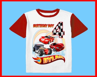 ef213fd6f Inspired Hot wheels Birthday Party Family shirt Short Sleeve Personalized  Name & Age Unisex clothing all size family Boys Girls Gift