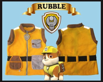 rubble paw patrol vest halloween costume ryder marshall zuma rubble rocky chase skye sizes 2t 3t 4t 5t 6t 8 youth