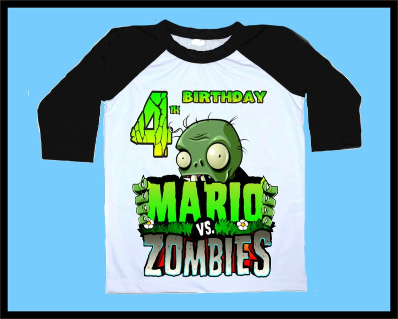 Plants vs Zombies Birthday Party Family shirt Raglan 3/4 Sleeve  Personalized Name & Age Unisex clothing all size family Boys Girls Gift