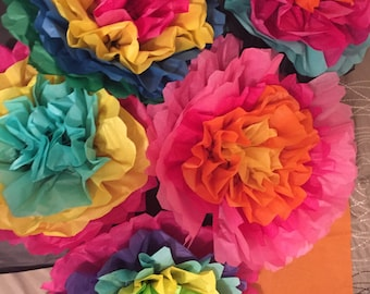 Tissue paper flowers etsy set of 5 large fiesta flowers colorful tissue paper flowers pom poms mexican paper flowers mightylinksfo