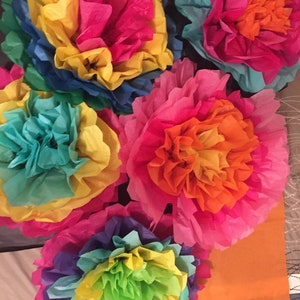 Tissue paper flowers etsy set of 5 large fiesta flowers colorful tissue paper flowers pom poms mexican paper flowers mightylinksfo
