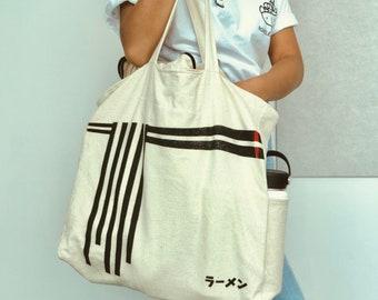 ef937b747 Ramen Noodle Tote Bag (4 Pockets, 2 Zippers), Very Thick Canvas Cotton Tote  Japanese, Noodle Japanese katakana
