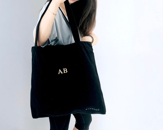 c24f1d3d3dae PERSONALISED TOTE BAG Black Gold Adjustable Monogram Pin