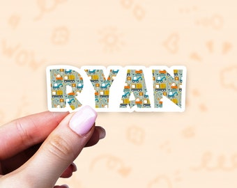 Boys vinyl stickers, custom kids name labels, water bottle stickers, fun stickers for kids, tumbler labels