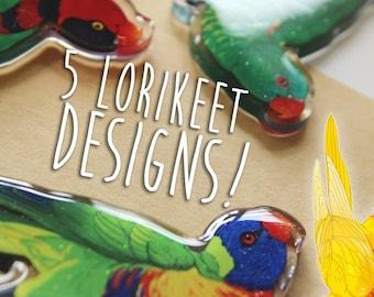 Dangling Lorikeet & Lory Buddy Acrylic Charm - 5 DESIGNS