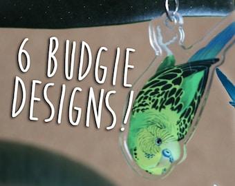 Dangling Budgie Parakeet Buddy Acrylic Charm