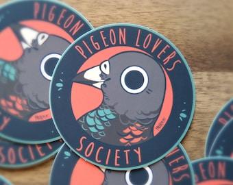 PIGEON LOVERS SOCIETY | cartoon artist designed pidgeon high quality matte waterproof vinyl sticker