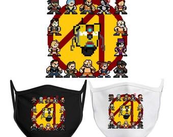 8-bit BORDERLANDS 2 Face Mask Retro Style 8bit NES Mega Man Claptrap Mad Moxxi Handsome Jack Tiny Tina Psycho Vault Hunters Zero Axton Kreig