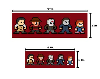8-bit HORROR ICONS Bumper Sticker Pixel Art