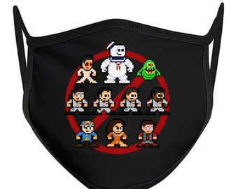 8-bit GHOSTBUSTERS Face Mask Retro Style 8bit NES Slimer Stay Puft Marshmallow Man Venkman Spengler Stanz Zeddemore Zuul Luis Dana Gozer