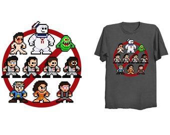8-bit GHOST BUSTING PEOPLE T-Shirt Retro Style 8bit Shirt